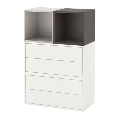 Eket combinaci n armario pared blanco gris claro gris oscuro ikea - Gris claro pared ...