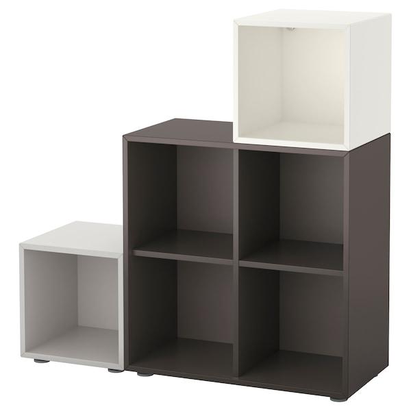 EKET Combinación armario+patas, blanco/gris oscuro/gris claro, 105x35x107 cm