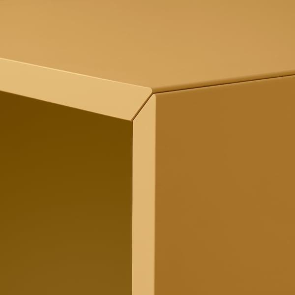 EKET Combinación armario+patas, gris oscuro gris turquesa/marrón dorado, 105x35x107 cm
