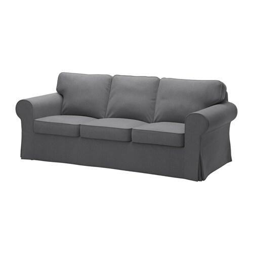 Ektorp funda para sof de 3 plazas nordvalla gris oscuro - Funda para sofa ikea ...