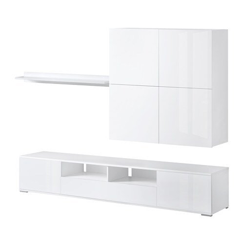 Ellanda mueble para tv blanco alto brillo blanco ikea for Envejecer mueble blanco ikea