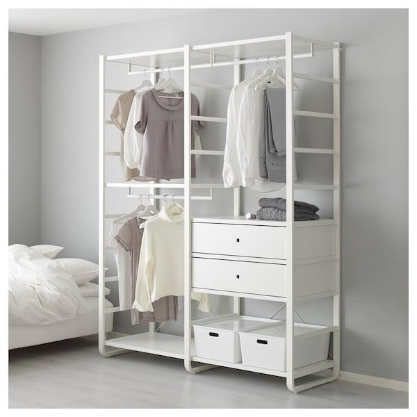 ELVARLI Combinación armario, blanco, 165x55x216 cm