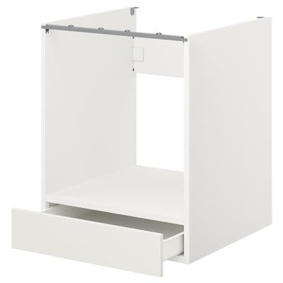 ENHET Armario bajo para horno con cajón, blanco, 60x62x75 cm