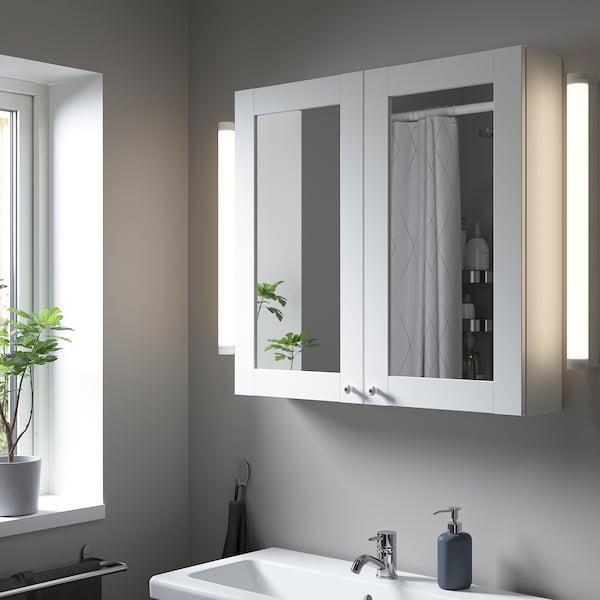 ENHET Armario &espejo, 2 puertas, blanco/blanco estructura, 80x15x75 cm