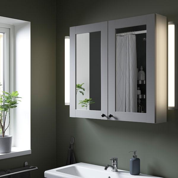 ENHET Armario &espejo, 2 puertas, blanco/gris estructura, 80x15x75 cm