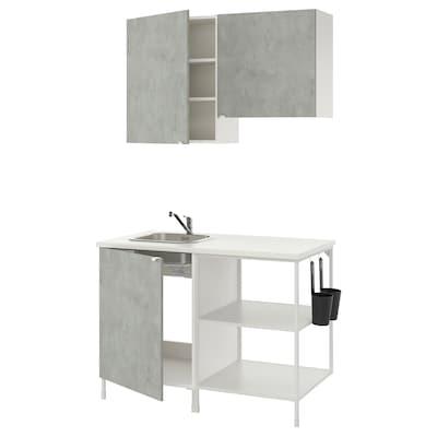ENHET Cocina, blanco/efecto cemento, 123x63.5x222 cm
