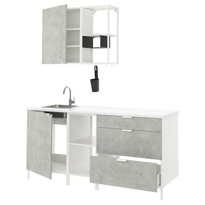 ENHET Cocina, blanco/efecto cemento, 183x63.5x222 cm
