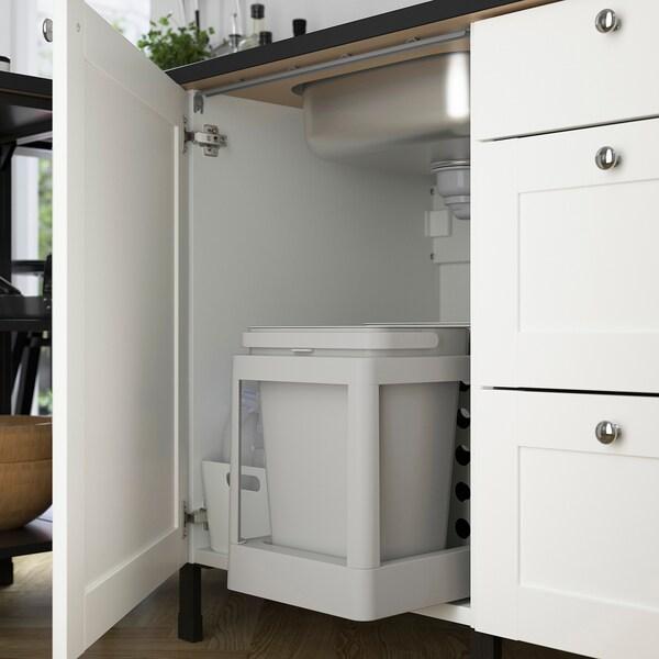 ENHET Cocina de esquina, antracita/blanco estructura