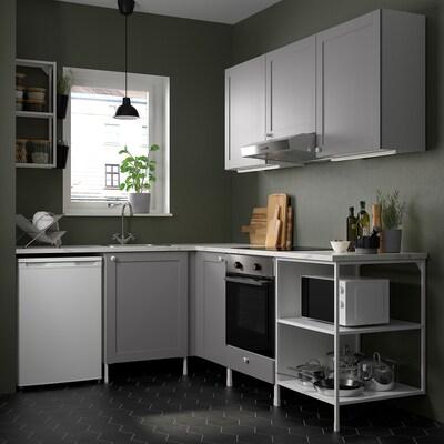 ENHET Cocina de esquina, blanco/gris estructura