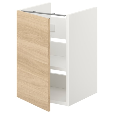 ENHET Mueble lavabo con balda/puerta, blanco/efecto roble, 40x40x60 cm