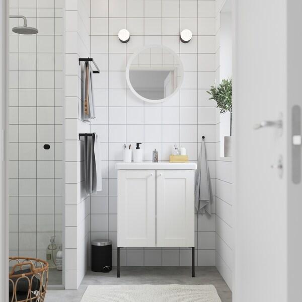 ENHET / TVÄLLEN Armario lavabo+2prtas, blanco estructura/blanco Lillsvan grifo, 64x43x87 cm