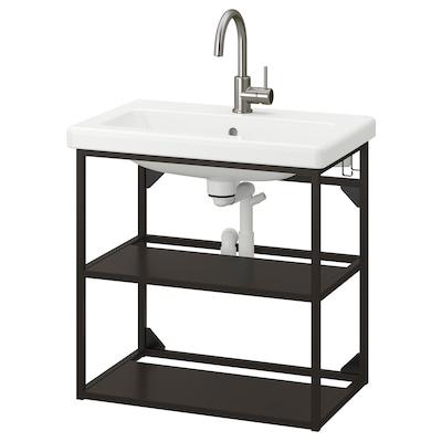ENHET / TVÄLLEN Mueble/lavabo abierto 2 baldas, antracita/grifo GLYPEN, 64x43x65 cm