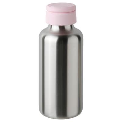 ENKELSPÅRIG Botella de agua, ac inox/rosa claro, 0.5 l