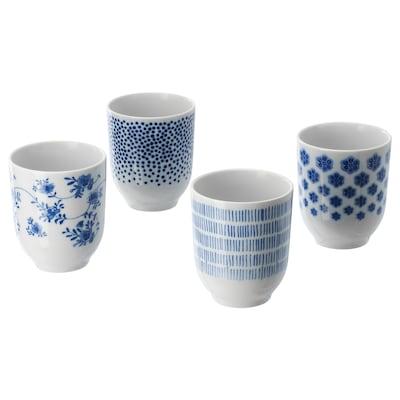 ENTUSIASM Vaso, con motivos/azul, 22 cl