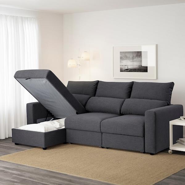 ESKILSTUNA Sofá 3 plazas, +chaiselongueHillared antracita