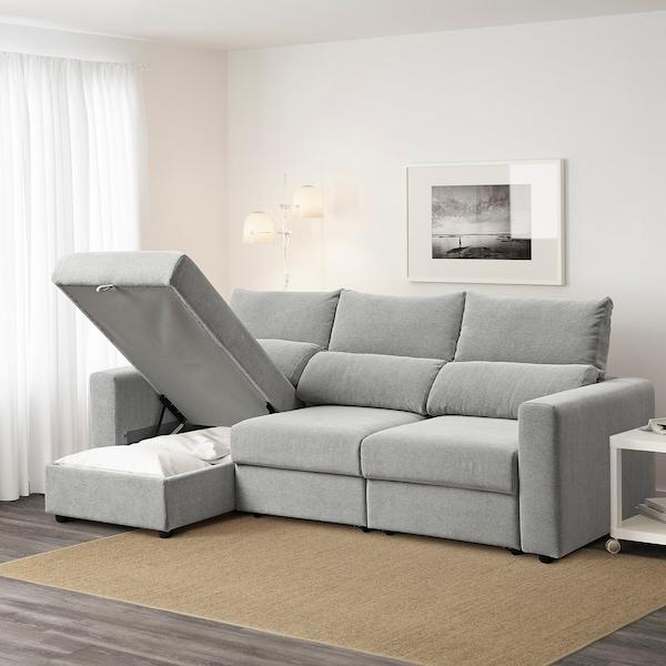 ESKILSTUNA Sofá 3 plazas, +chaiselongue/Tallmyra blanco/negro