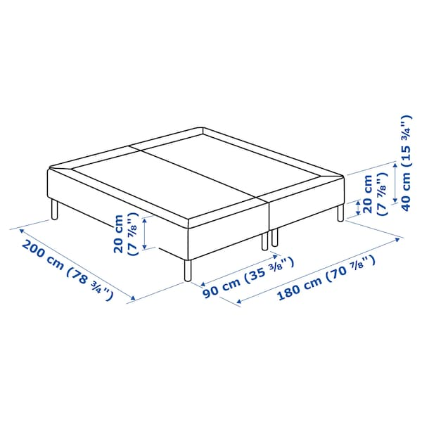 ESPEVÄR base colchón con núcleo de muelles gris oscuro 200 cm 180 cm 20 cm