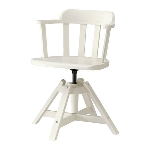 Feodor silla giratoria con reposabrazos blanco ikea for Sillas tapizadas con reposabrazos