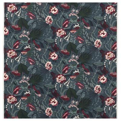 FILODENDRON Tela por metros, azul oscuro/dibujo con flores, 150 cm