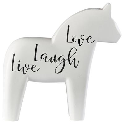 FINANSIELL Adorno, caballo, blanco/diseño con texto, 20 cm