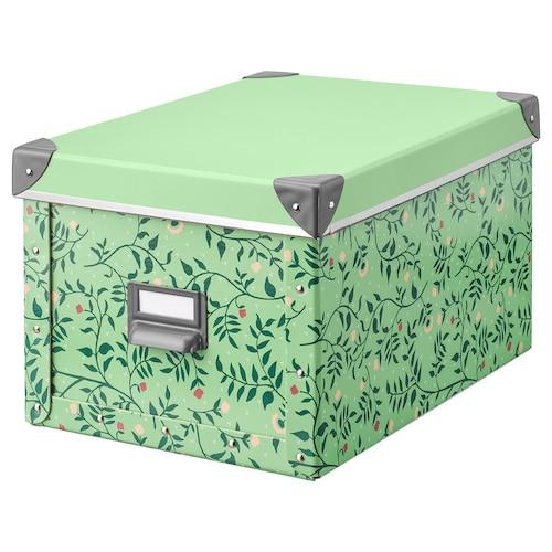 FJÄLLA caja con tapa verde claro/motivo de flores 35 cm 26 cm 36 cm 25 cm 20 cm