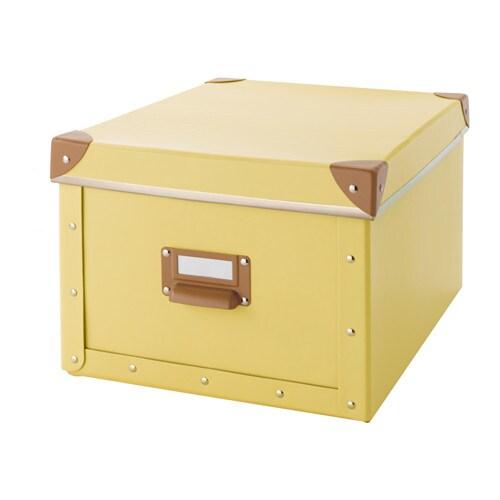 Fj lla caja con tapa amarillo 27x35x20 cm ikea - Ikea cajas almacenaje ropa ...