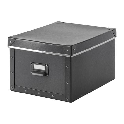 Caja con tapa, gris oscuro - IKEA