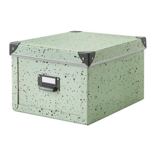Caja con tapa, verde claro, a lunares - IKEA