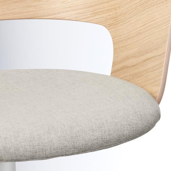 FJÄLLBERGET Silla reunión con ruedas, chapa roble tinte blanco/Gunnared beige