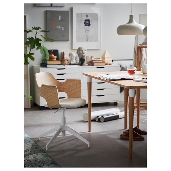 FJÄLLBERGET Silla sala de juntas, chapa roble tinte blanco/Gunnared beige