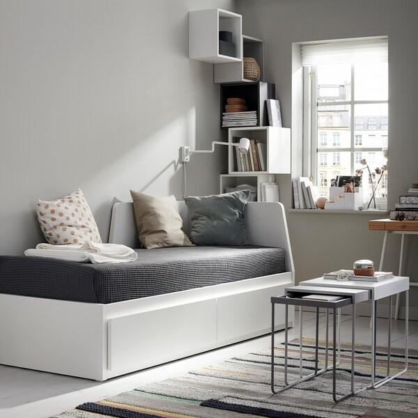 FLEKKE diván con 2 cajones y 2 colchones blanco/Moshult firme 207 cm 88 cm 86 cm 169 cm 207 cm 200 cm 80 cm