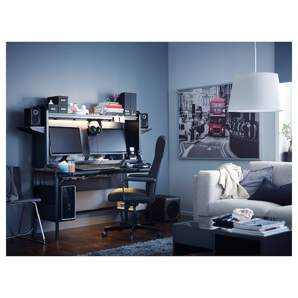 FREDDE Escritorio gaming, negro, 185x74x146 cm