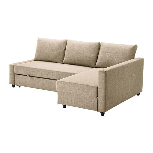 Friheten sof cama esquina con almacenaje skiftebo beige for Sofa con almacenaje
