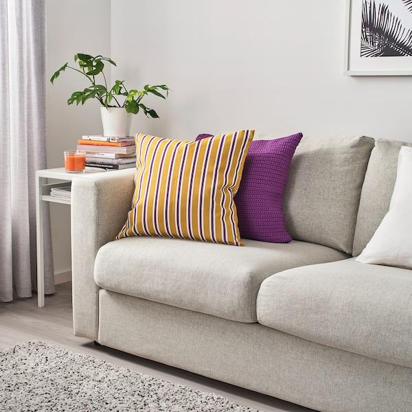 FUNKÖN funda cojín int/ext amarillo oscuro/púrpura 50 cm 50 cm