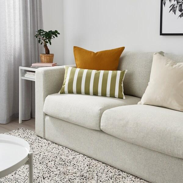 FUNKÖN Cojín int/ext, beige-verde/blanco, 30x58 cm