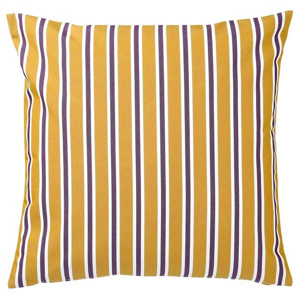 FUNKÖN Funda cojín int/ext, amarillo oscuro/púrpura, 50x50 cm