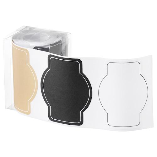 GIVANDE pegatina negro natural/blanco 7.5 cm 6 cm 90 unidades