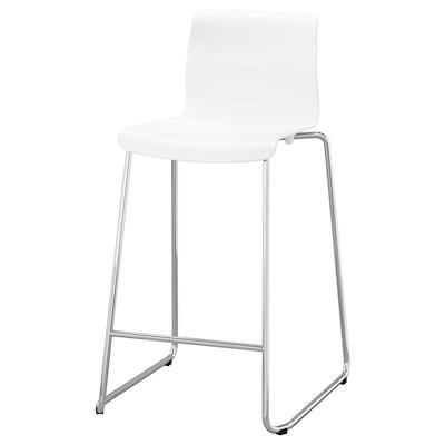 GLENN Taburete alto, blanco/cromado, 66 cm