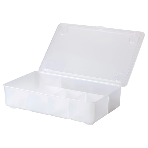 GLIS Caja con tapa, transparente, 34x21 cm