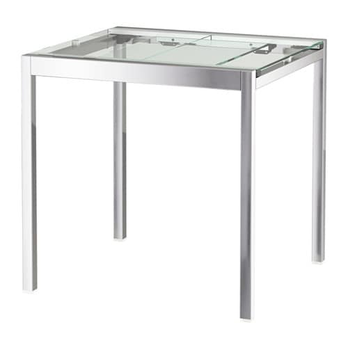 Mesa extensible, transparente, cromado