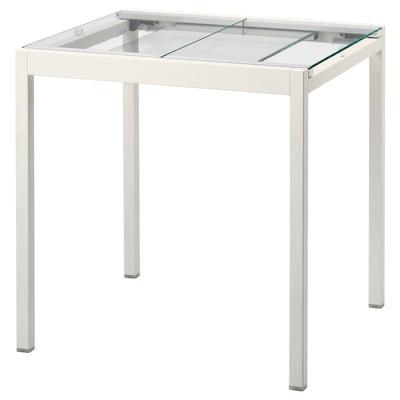 GLIVARP Mesa extensible, transparente/blanco, 75/115x70 cm
