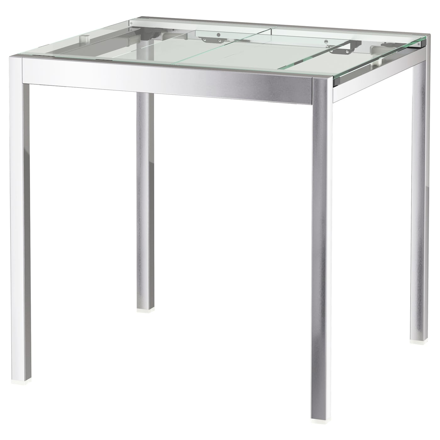 GLIVARP Mesa extensible Transparente/cromado 75/115 x 70 cm - IKEA