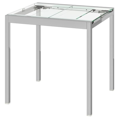 GLIVARP Mesa extensible, transparente/cromado, 75/115x70 cm