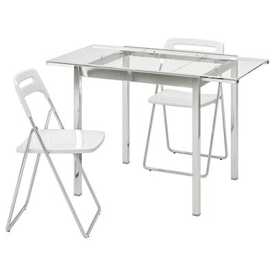 GLIVARP / NISSE Mesa y dos sillas, transparente/cromado blanco, 75 cm