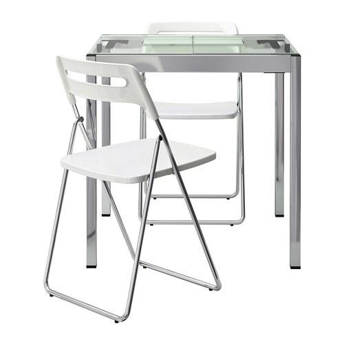 Mesa y dos sillas, transparente, cromado blanco