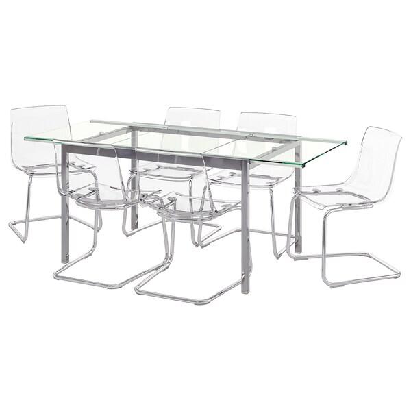 GLIVARP / TOBIAS Mesa y 6 sillas, transparente/transparente, 188 cm