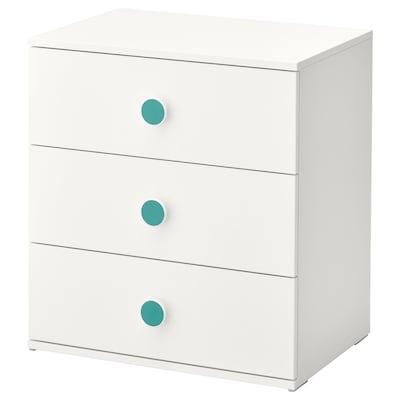 GODISHUS Cómoda de 3 cajones, blanco, 60x64 cm