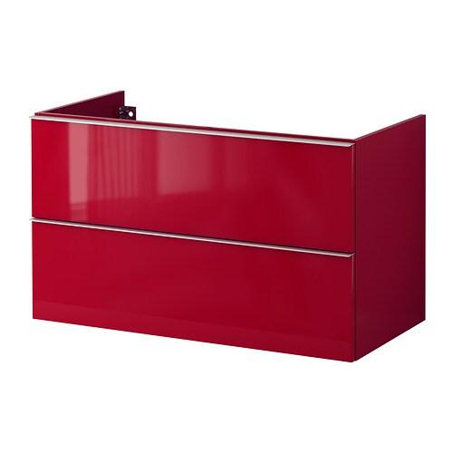 Godmorgon armario lavabo 2 cajones alto brillo rojo - Cajones armario ikea ...