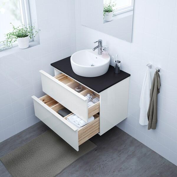 GODMORGON Armario lavabo 2 cajones, alto brillo blanco, 80x47x58 cm