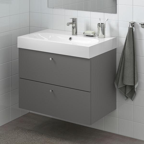 GODMORGON Armario lavabo 2 cajones, Gillburen gris oscuro, 80x47x58 cm